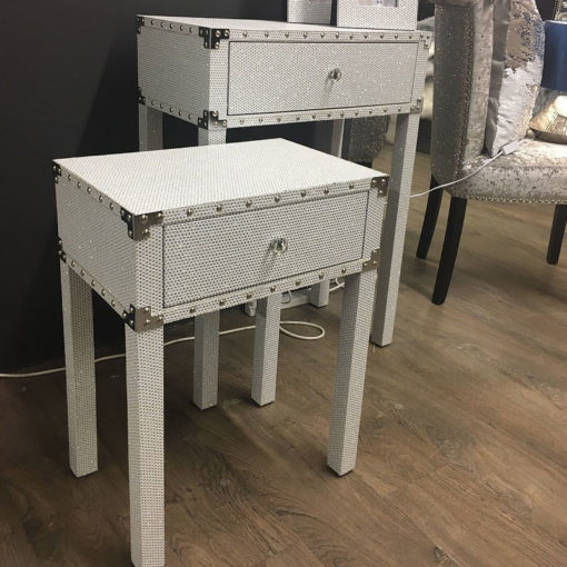 Blitz Nest of 2 White Glitzy Sparkle Crystal Coffee End Tables