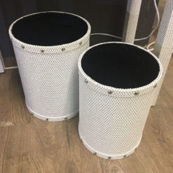 Blitz Set of 2 White Glitter Dustbins