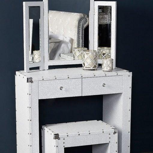 Blitz White Bedroom Set Dressing Table, Stool and Tri-Fold Mirror