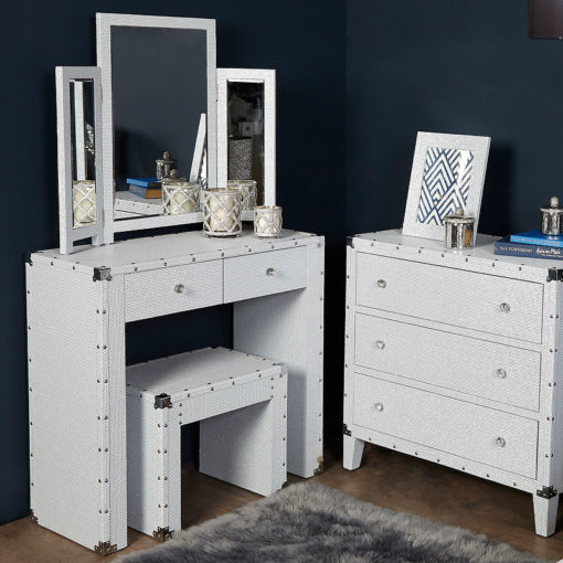Blitz White Bedroom Set Dressing Table, Stool and Tri-Fold Mirror