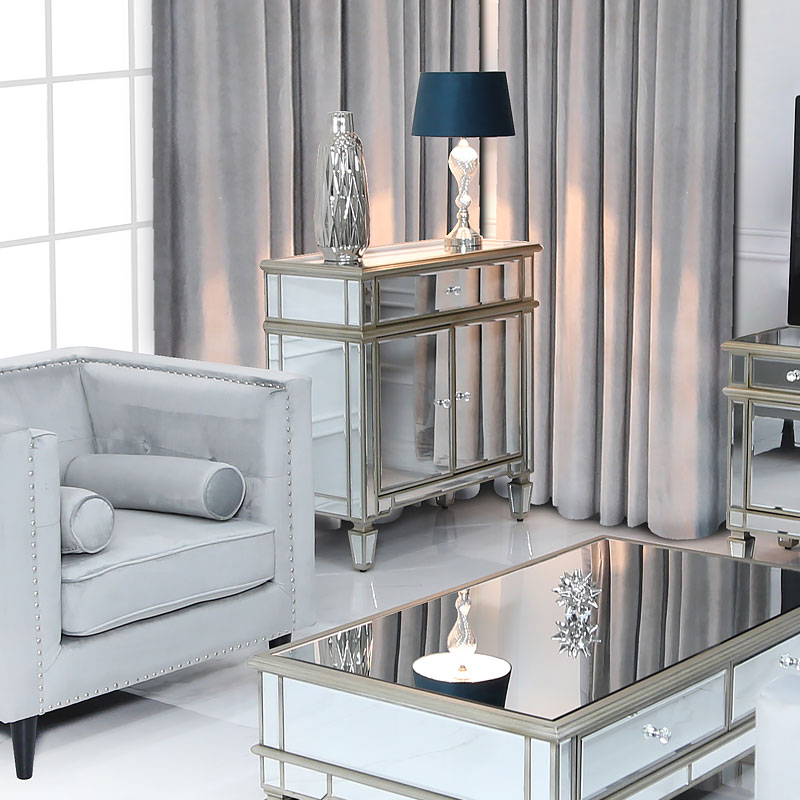 Canterbury 1 Drawer 2 Door Champagne Gold Mirrored Cabinet Picture Perfect Home