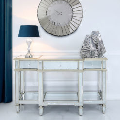 Canterbury 3 Drawer Champagne Gold Mirrored Console Table