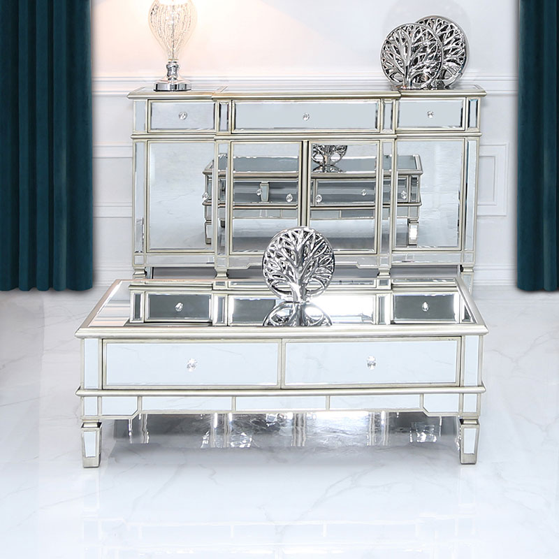 Canterbury 4 Drawer Champagne Gold Mirrored Coffee Table