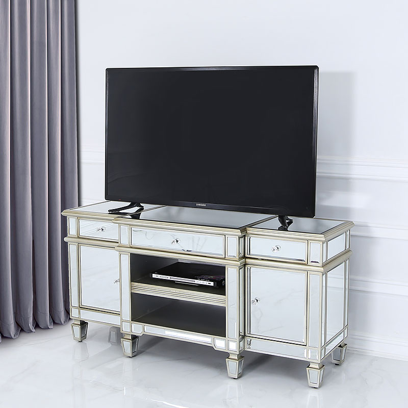 Canterbury Champagne Gold Mirrored Tv Stand Cabinet Entertainment
