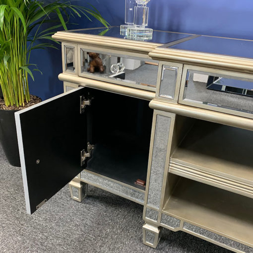 Canterbury Champagne Gold Mirrored TV Stand Cabinet Entertainment Unit