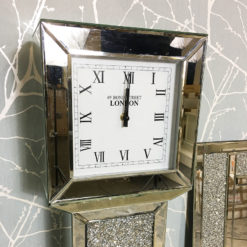 Crystal Panel Grandfather Mirrored Clock
