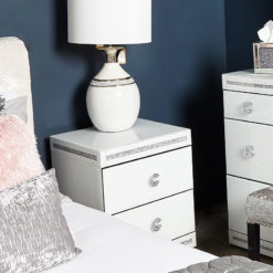 Crystalline White Glass Mirrored 2 Drawer Bedside Cabinet