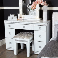 Crystalline White Glass Mirrored 7 Drawer Bedroom Dressing Vanity Table