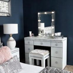 Crystalline White Glass Mirrored 7 Drawer Bedroom Dressing Vanity Table