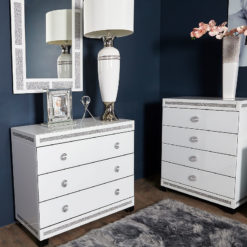 Crystalline White Glass Mirrored Large 3 Drawer Bedroom Chest / Cabinet