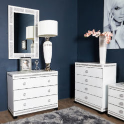 Crystalline White Glass Mirrored Large 3 Drawer Bedroom Chest