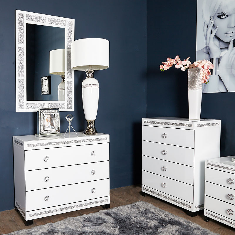 Crystalline White Glass Mirrored Large 3 Drawer Bedroom Chest / Cabinet |  Picture Perfect Home