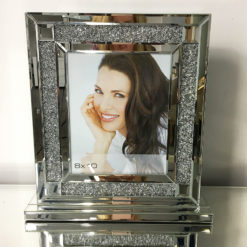 Diamond Glitz Mirrored Silver Box Photo Frame
