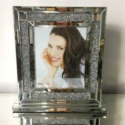 Diamond Glitz Mirrored Silver Box Photo Frame