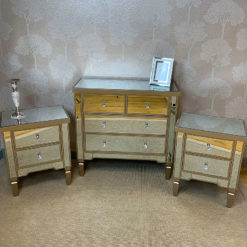 Georgia Luxe Set Champagne Mirrored 4 Drawer Chest And 2 Bedside Cabinets
