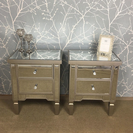 Georgia Set Champagne Mirrored 4 Drawer Chest And 2 Bedside Cabinets