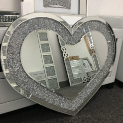 Heart Shape Diamond Crystal Wall Mirror