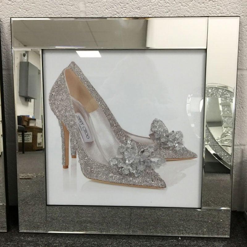 8f75655b7766 Jimmy Choo Cinderella Shoe Mirrored Picture Frame Wall Art