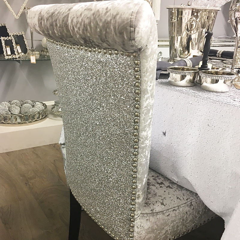 Sparkly Silver Glitter Back Chair Picture Perfect Home