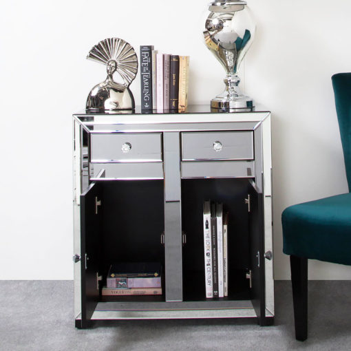Arctic Noir Black Smoked Glass Mirrored 2 Drawer 2 Door Cabinet