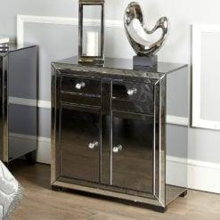 Large Arctic Noir Black Smoked Glass Mirrored 4 Drawer