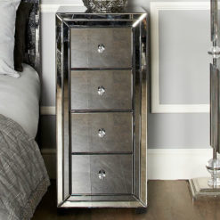 Arctic Noir Black Smoked Glass Mirrored 4 Drawer Tallboy Chest Cabinet