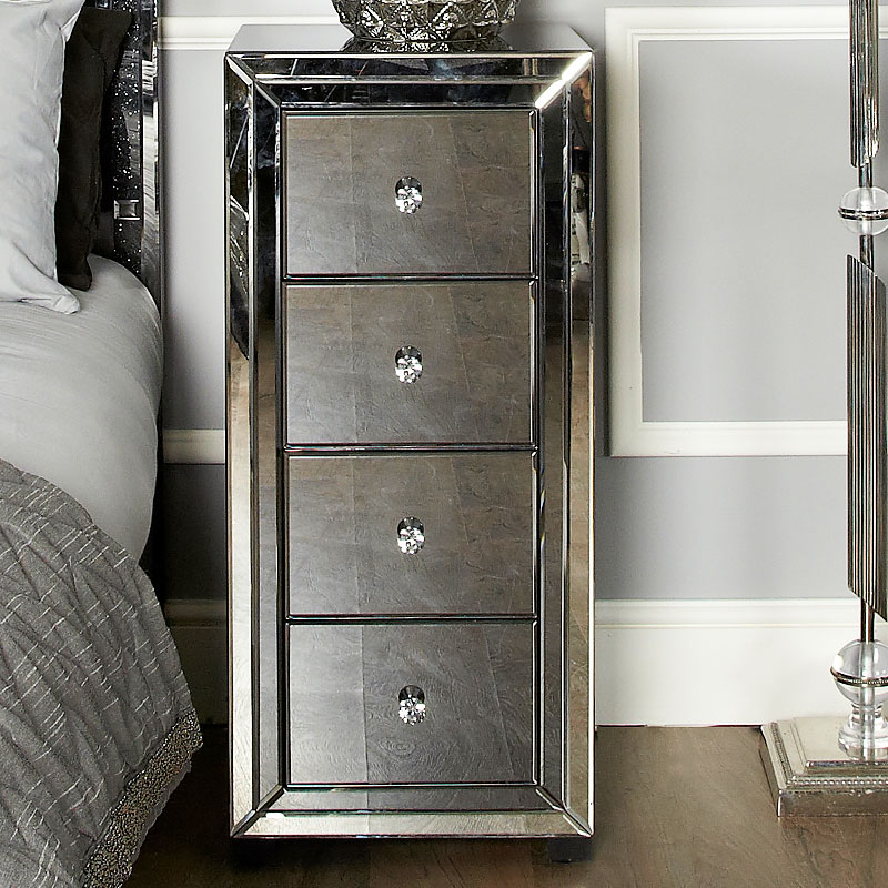 Arctic Noir Black Smoked Glass Mirrored 4 Drawer Tallboy