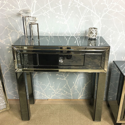 Arctic Noir Smoked Black Mirrored 1 Drawer Dressing Console Table