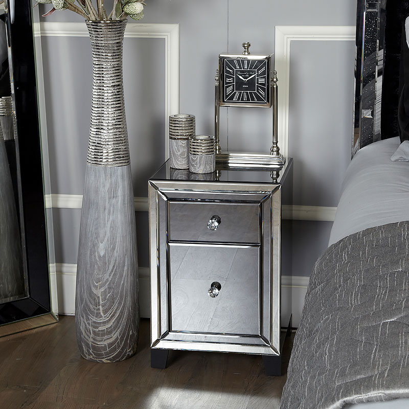 Arctic Noir Smoked Glass Black Mirrored 2 Drawer Bedside