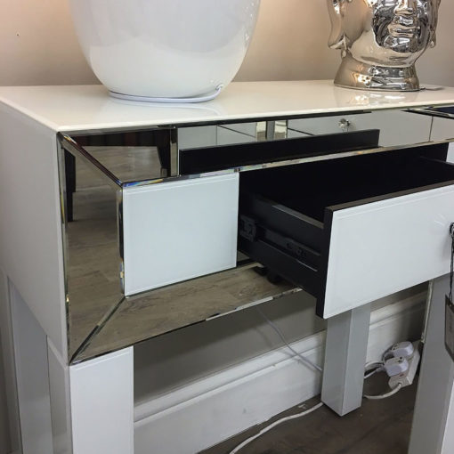 Arctic White Mirrored Glass 1 Drawer Dressing Console Table