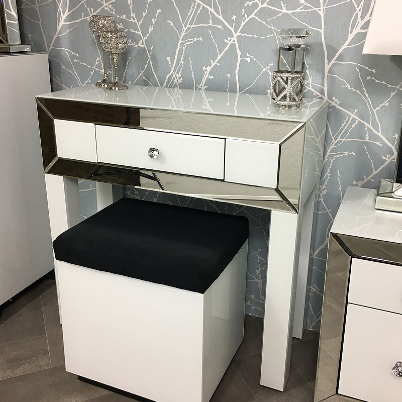 Arctic White Mirrored Glass 1 Drawer Dressing Console