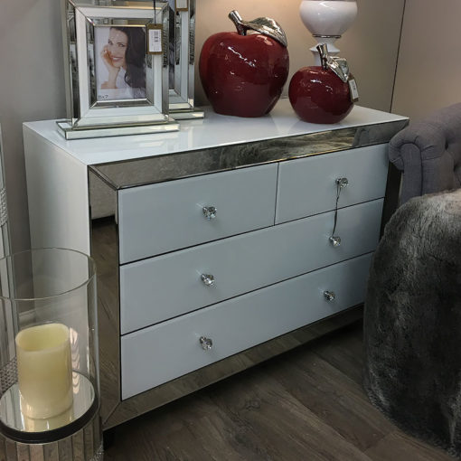 Arctic White Mirrored Glass 4 Drawer Chest Of Drawers Cabinet Cupboard
