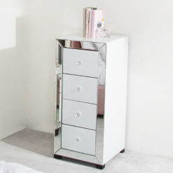 Arctic White Mirrored Glass 4 Drawer Tallboy Chest Of Drawers Cabinet