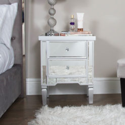 Georgia Silver Mirrored Chest of 2 Drawer Bedside Cabinet Lamp Table