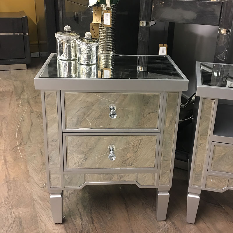 Georgia Silver Mirrored Chest Of 2 Drawer Bedside Cabinet