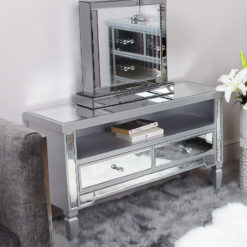Georgia Silver Trim Mirrored 2 Drawer TV Entertainment Cabinet Stand