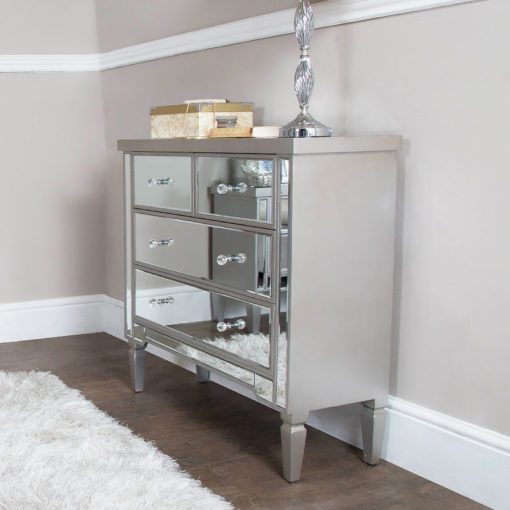Georgia Silver Trim Mirrored Chest of 4 Drawers Bedroom Cabinet