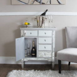 Georgia Silver Trim Mirrored Chest of 5 Drawers 1 Door Cabinet