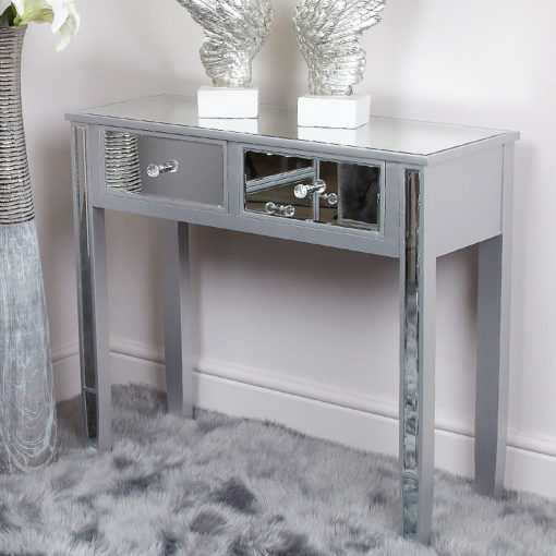Georgia Silver Wood Trim Mirrored 2 Drawer Console Dressing Table
