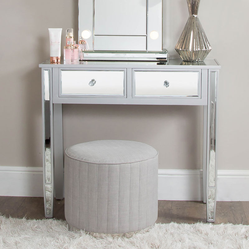 Home Furniture Diy Mirrored Silver Dressing Table With Drawers