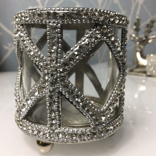 Glass Nickel Diamond Crystal Tealight Make-up Brush Holder 10cm