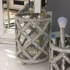 Glass Nickel Diamond Crystal Tealight Make-up Brush Holder 13cm