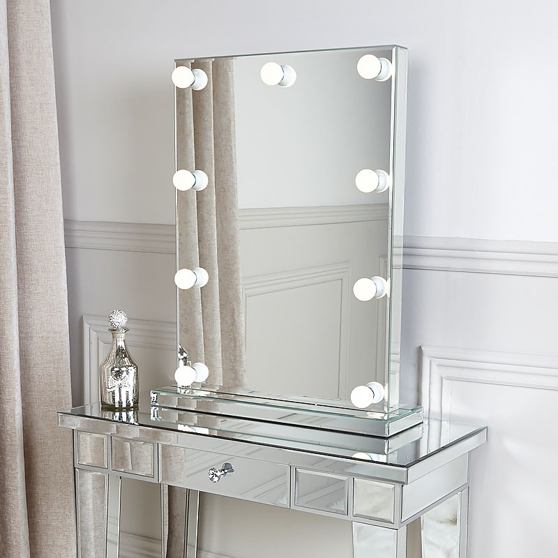 hollywood dressing table vanity mirror with 9 dimmable led. Black Bedroom Furniture Sets. Home Design Ideas