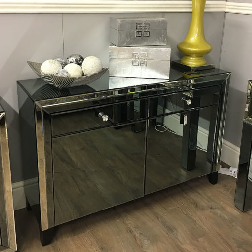 Large Arctic Noir Black Mirrored 2 Drawer 2 Door Cabinet Sideboard