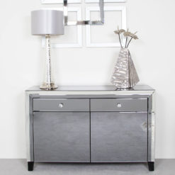 Large Arctic Noir Tinted Mirrored 2 Drawer 2 Door Cabinet Sideboard