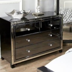Large Arctic Noir Black Smoked Glass Mirrored 4 Drawer Chest of Drawer