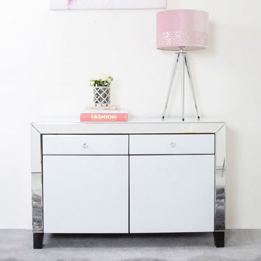 Large Arctic White Mirrored 2 Drawer 2 Door Cabinet Sideboard Cupboard