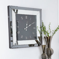 Large Smoked Glass Mirrored Square Wall Clock 90 x 90cm Roman Numerals
