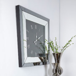Large Smoked Glass Mirrored Square Wall Clock