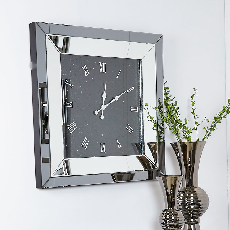 Large Smoked Glass Mirrored Square Wall Clock 90 X 90cm